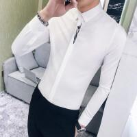 男士衬衫长袖2018春新款 韩版休闲 潮流白衬衣修身型韩国帅气寸衫 白色 02