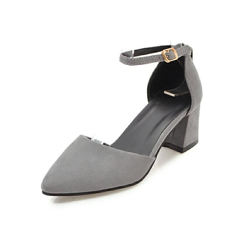 ELEISE美国艾蕾莎新品033-912-2韩版磨砂绒面中跟女士凉鞋