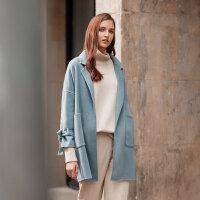 【2件2.5折叠券约:351.5,12日0点】羊毛MECITY女冬季chic双面呢大衣森女系带外套中长款