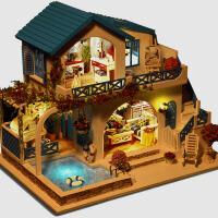 蓝白小镇diy小屋手工制作房子拼装模型大型别墅创意玩具生日礼物