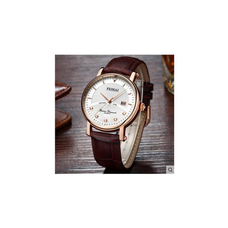 男士手表皮带商务男表日历防水石英表腕表 品质保证 售后无忧 支持货到付款