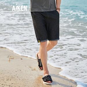 森马旗下Aiken爱肯2018新款夏季街头青少年直筒潮流男生运动牛仔中裤短裤 黑色