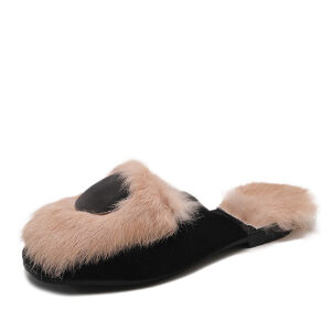 WARORWAR新品YM32-9358冬季韩版平底舒适女士毛拖鞋