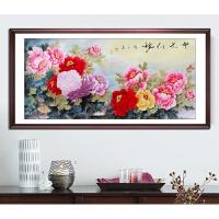 国画牡丹画中式客厅装饰画纯手绘花开富贵背景墙壁横幅挂画已装裱