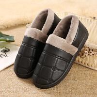 棉拖鞋女男厚底冬季室内保暖加绒带后跟防水pu皮面全包跟男士棉托