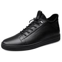 男士高帮板鞋真皮靴子2018秋冬百搭套脚加绒保暖棉鞋黑色休闲皮鞋
