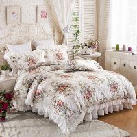 韩版田园全棉蕾丝公主套件纯棉防滑床罩床裙双人四件套1.5m1.8米
