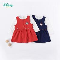 【3件4折】迪士尼Disney童装 女童连衣裙秋装新款白雪公主套装宝宝花边领t恤裙子2件套183T836