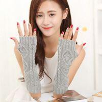 韩版秋冬季淑女毛线针织菱形袖套半指长款保暖露指手套。