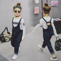 女童牛仔背带裤 2018韩版春款新儿童背带裤宽松休闲裤子A8-A3