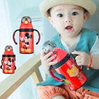 迪士尼吸管杯宝宝带手柄学饮杯婴儿保温杯喝水杯子儿童水壶防摔漏