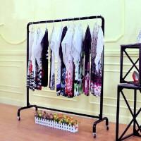 服装店衣服展示架龙门架铁艺服装架落地式单杆挂衣架带轮货架 官方标配