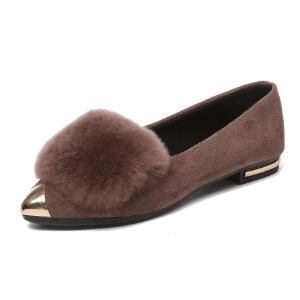 WARORWAR新品YM124-A-16冬季日系平底舒适女士毛毛单鞋