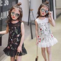 韩版童装夏季新款童裙中小童刺绣花朵女童背心吊带裙B4-A37