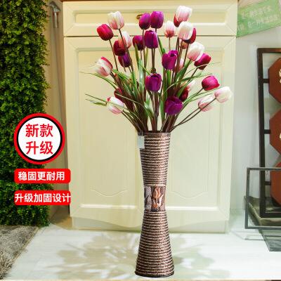 氫寶 QINGBAO 美化裝飾 客廳擺設仿真花落地花瓶套裝花藝塑料花干花