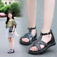 女童凉鞋韩版夏季公主亮片儿童凉鞋小女孩中大童学生软底