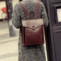 新款韩版双肩包 学院风复古邮差包双肩包 定型背包 旅行包潮 咖啡色