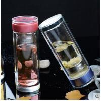 透明杯水瓶车载户外便携水晶杯双层玻璃杯子男女士水杯防滑花茶杯耐热水杯