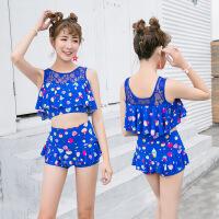 泳衣女韩版修身平角沙滩游泳分体两件套性感露腰显瘦女士泳装批发
