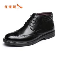 【领�幌碌チ⒓�120】红蜻蜓男鞋秋冬季新品商务男棉鞋舒适高帮加绒皮鞋布洛克