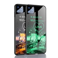 苹果11手机壳套 iPhone11保护壳 苹果iphone11夜光钢化玻璃镜面硅胶软边全包防摔外壳硬壳