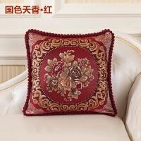 欧式刺绣沙发抱枕套含芯布艺床头提花靠垫大靠枕 48X48cm枕套+芯