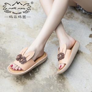 玛菲玛图凉鞋新款女学生百搭平底夏季露趾花朵一字式休闲罗马凉鞋女M198115802T2