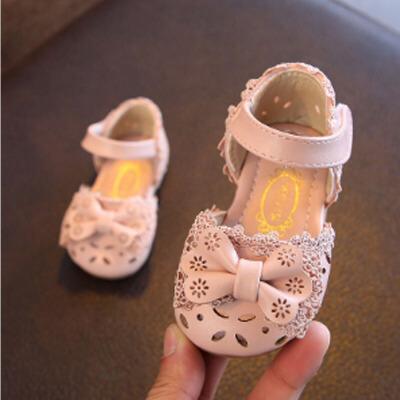 夏季婴儿凉鞋0-1-2岁防滑软底小童蕾丝公主鞋包头女宝宝鞋子