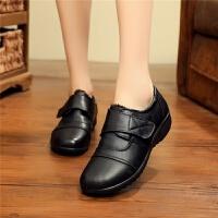 冬季加绒女棉鞋低帮女士棉皮鞋中老年保暖鞋防滑妈妈鞋40 50 60岁