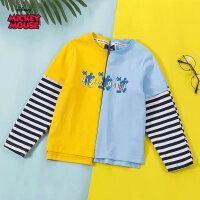 【3件2折后:49.9元】迪士尼米奇童装男童春装2020年春夏新品拼接色长袖T恤