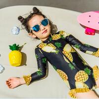 女童泳衣中大童长袖连体游泳衣儿童菠萝泳衣女孩