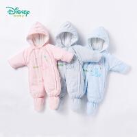 迪士尼Disney童装婴儿秋冬新品保暖夹棉连体衣外出服连帽连脚新生儿哈衣184L754