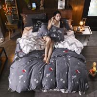 冬季磨毛四件套水洗棉床品1.8m床上用品宿舍被套床单三件套1.5米