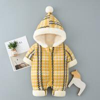 宝宝冬装女0一1岁满月婴儿衣服潮款加厚公主哈衣冬季外出连体抱衣