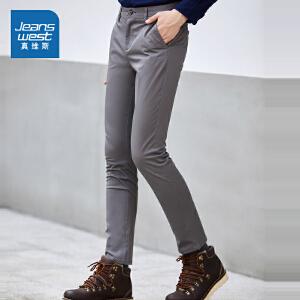 真维斯简约休闲裤男 2018春装男装中低腰弹力修身长裤韩版裤子潮