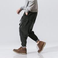 №【2019新款】冬天年轻人穿的宽松哈伦牛仔裤秋冬款胖子加肥加大码松紧腰弹力男裤子嘻哈潮