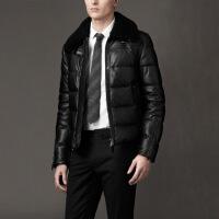 秋冬 进口绵羊皮皮衣 飞行员夹克羽绒服男士短款翻领修身外套 黑色