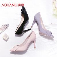 奥康女鞋新款韩版百搭女鞋细跟高跟鞋女尖头猫跟单鞋