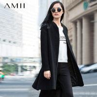 Amii冬新棒球领中长款羊毛大衣毛呢外套