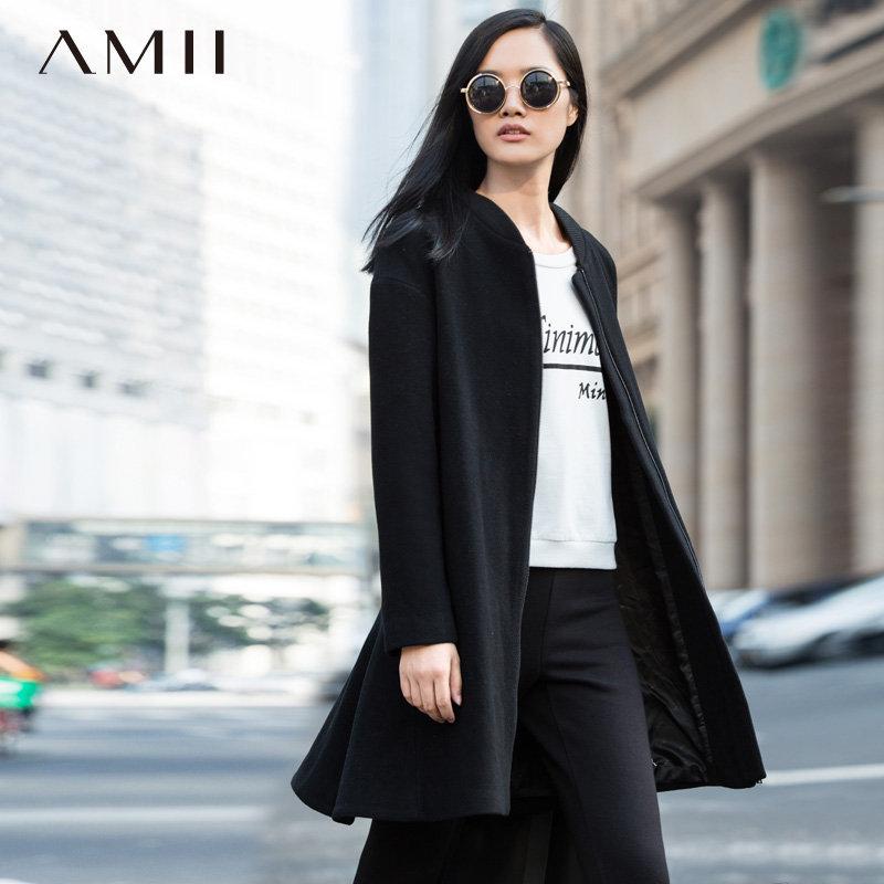 Amii[极简主义]冬新棒球领中长款羊毛大衣毛呢外套.