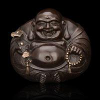 中式铜雕 重阳礼品 佛教摆件 小圆如意佛笑口常开 家居室内摆件办公室