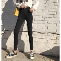 春季新款时尚百搭女裤一粒扣黑色高腰紧身弹力小脚铅笔裤子打底裤
