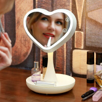 化妆镜台灯led带灯台式多功能书桌台面镜简约现代梳妆镜三八节 初心白色 送发带 送放大镜 拍下108元每个