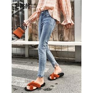 七格格牛仔裤女小脚裤春装季2019新款韩版高腰显瘦浅色直筒裤子潮