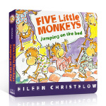 Five Little Monkeys Jumping on the Bed 五只小猴子在床上跳纸板书 英文原版绘本幼