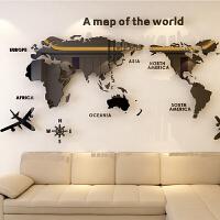 世界地图亚克力3D立体水晶卧室墙贴客厅地教室贴画办公室装饰创意