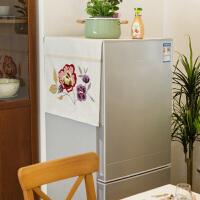 田园风布艺冰箱防尘罩 美式刺绣保护罩盖布巾 单开门双开门冰箱罩 紫曦- 双开门冰箱