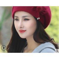 新款护耳针织贝雷帽兔毛帽子女韩版潮百搭加厚毛线帽