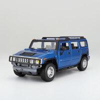 原厂1:24悍马H2越野仿真汽车模型合金模型金属车模型 摆件 悍马H2 金属蓝080