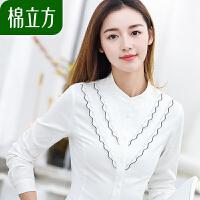 纯棉港风衬衫女长袖棉立方2019女装新款春装复古刺绣修身白色衬衣